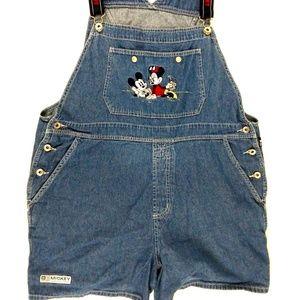 Vintage Mickey Mouse Women's Shortalls Overalls Bi